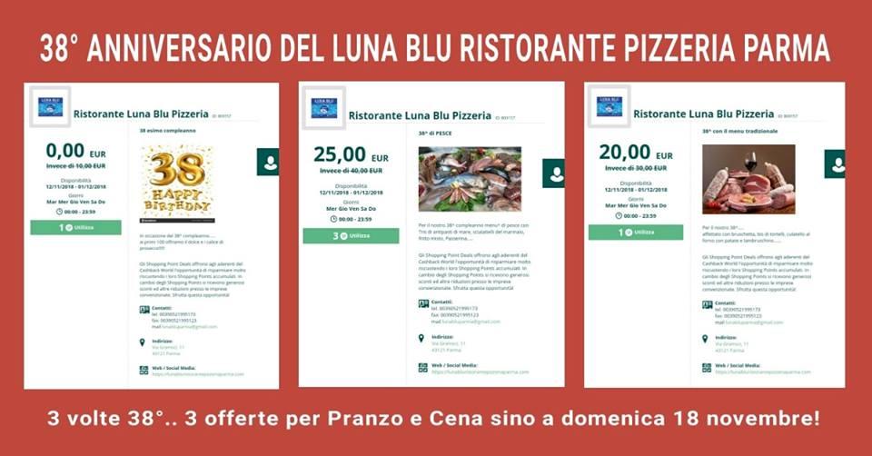 Ristorante Pizzeria Luna Blu Parma: un Mega 38° Anniversario