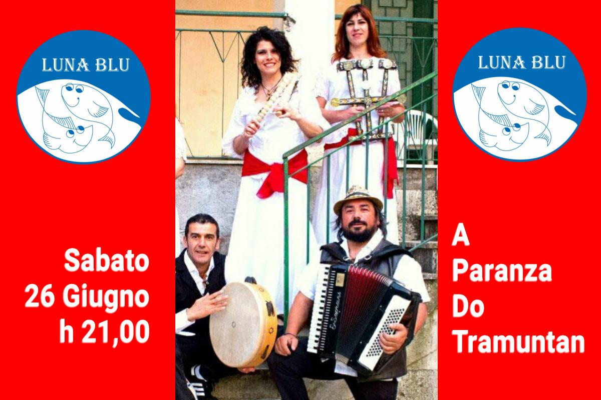 Cena Musicale Sabato 26 Giugno h 21 Parma: Tammurriata Pizzica Tarantella al Ristorante Pizzeria LUNA BLU.. Menù Libero